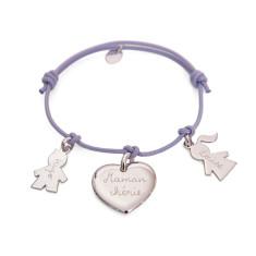 Women's personalised sterling silver family bracelet