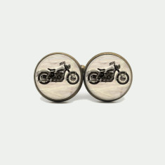 Motorbike silver or antique cufflinks