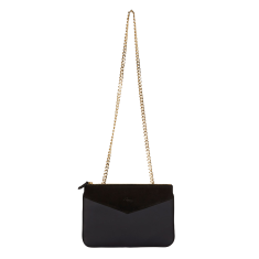 Grace crossbody and clutch in black leather and suede