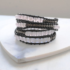 Personalised natural stone & leather wrap bracelet in rose quartz and black
