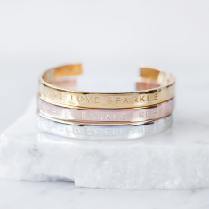 Silver, Rose Gold Or Gold Message Bangle