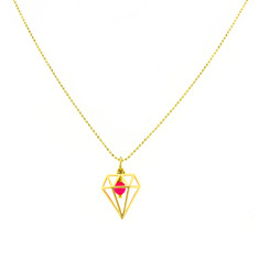 Diamond cage neon necklace