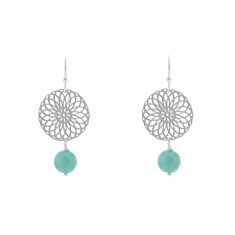 Silver aqua rosetta earrings