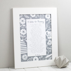 Letter to mummy personalised poem print