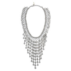 Silver chandelier tribal coin necklace