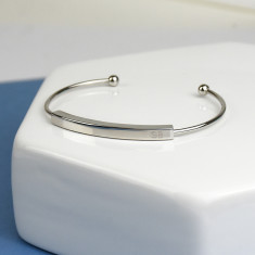 Personalised Initial Bar Bracelet Bangle