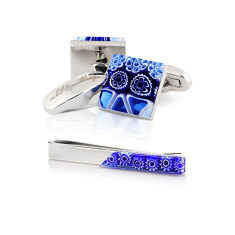 Petali Blu Gift Set - Cufflinks + Tie Bar