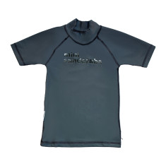 Classic short sleeve rashie for boys in Surfing Dogs Grey