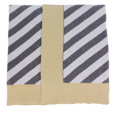 Annex Knit Cotton stripe throw in grey