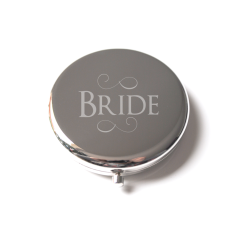 Bride silver engraved compact mirror