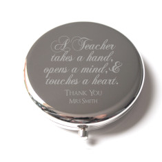 Teacher's gift engraved compact mirror in silver (customised with teacher's name)