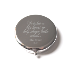 Teacher engraved compact mirror customised with teacher's name and year