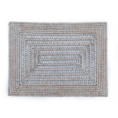 Rattan table placemats in white wash open weave (set of 6)