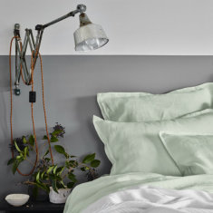 Pure linen bed sheet set in dew green