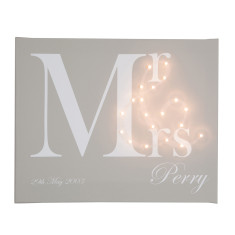 Mr & Mrs personalised illuminated canvas