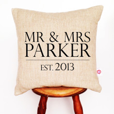 Mr and Mrs surname personalised linen cushion cover