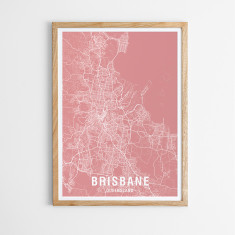 Brisbane map print (various colours)