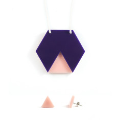 GEO necklace & earrings gift set - hexagon navy and blush pink