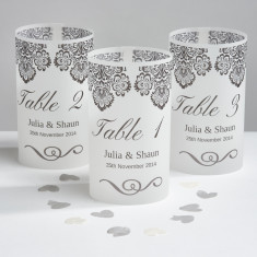Damask wedding table number luminaries