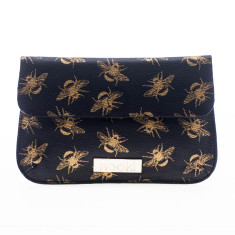 nooki design - metallic bee printed leather midi clutch