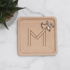 Personalised geometric initial coin tray
