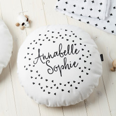Personalised Kids' Monochrome Hearts Round Cushion