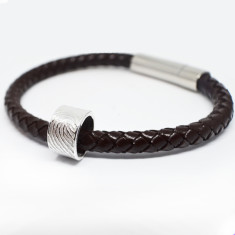 Fingerprint Charm Leather Bracelet