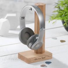 Solid Oak Personalised Headphone Stand