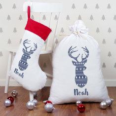 Personalised Deer Head Jumbo Santa Sack and Stocking Combo - Various Colours