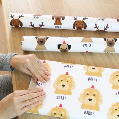 Personalised Christmas Dog Wrapping Paper (Two Sheets)