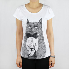 Cat and forest monster artist tee