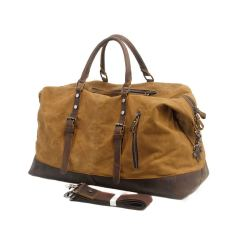 Canvas weekend bag travel duffel luggage bag in tan