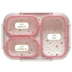 Personalised Bento Lunch Box - Stars (Pink)
