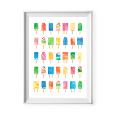 Watercolour ice blocks print