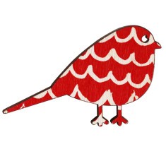 Bird brooch with waves on red