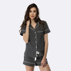 Pinstripe Short PJ Set Black / White