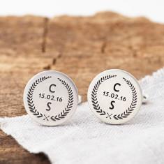 Personalised Wedding Crest Hidden Message Cufflinks