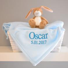 Personalised Baby's Blue Monogrammed Blanket