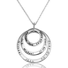 Set of 3 personalised pendants and necklace in solid sterling silver