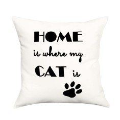 Home is where my cat is handmade cushion cover