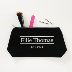 Personalised established in makeup bag