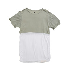 Modal stripe t-shirt in khaki grey and white