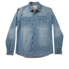 Men's heavy denim shirt in faded mid blue
