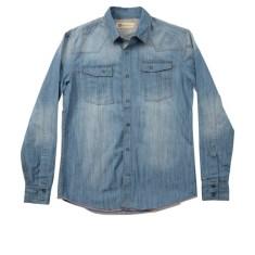 Men's heavy denim shirt in faded mid blue