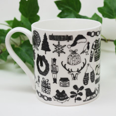 Illustrated Christmas mug