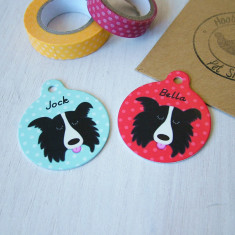 Border Collie Personalised Pet Name Tag