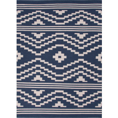 Midnight navy modern flat weave cotton rug
