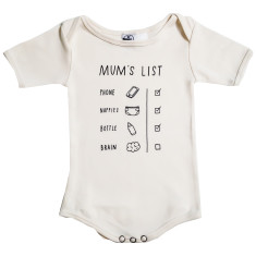 Organic cotton mum's list onesie