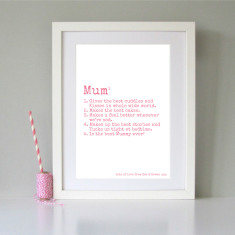 Personalised definition print for Mum or Mummy