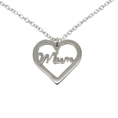 Mum heart sterling silver necklace